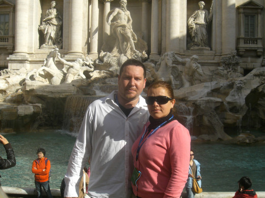 with my husband at La Fontana de Trevi