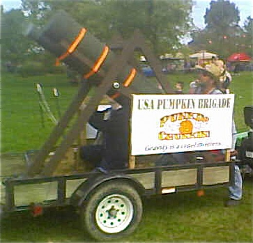 The annual Warsaw Pumpkin Festival on the Ohio River featured Dr. Dirt's Pumpkin Chunker that fired mini pumpkins halfway across the river.