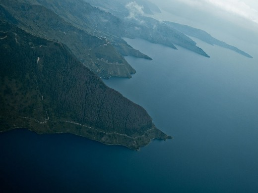 Lake Toba, Sumatra, Indonesia from the air. Looking at the photo, one would never guess that this was the site of an ancient supervolcanic explosion.