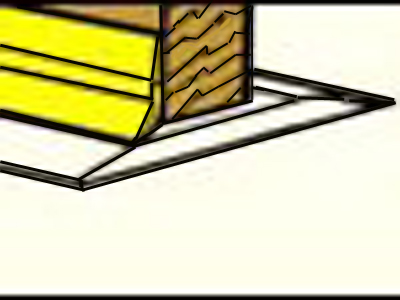 Fig 2. A Door Bottom (in Yellow) with Self-Sticking Adhesive