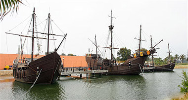 "The Three Caravels at ""Palos de la frontera."""