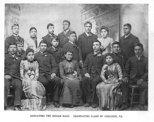 "Photo caption reads ""Educating the Indian Race. Graduating Class of Carlisle, PA"""
