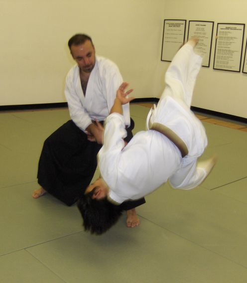 Aikido principles focus on a blending of the physical and spiritual.