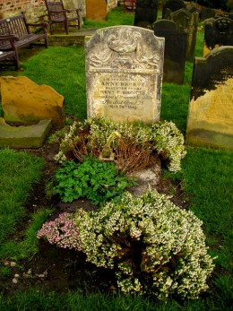 Anne Bronte's grave in Scarborough, England.