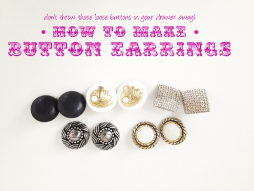 Don't throw those loose buttons away! Learn how to turn them into a lovely pair of earrings.