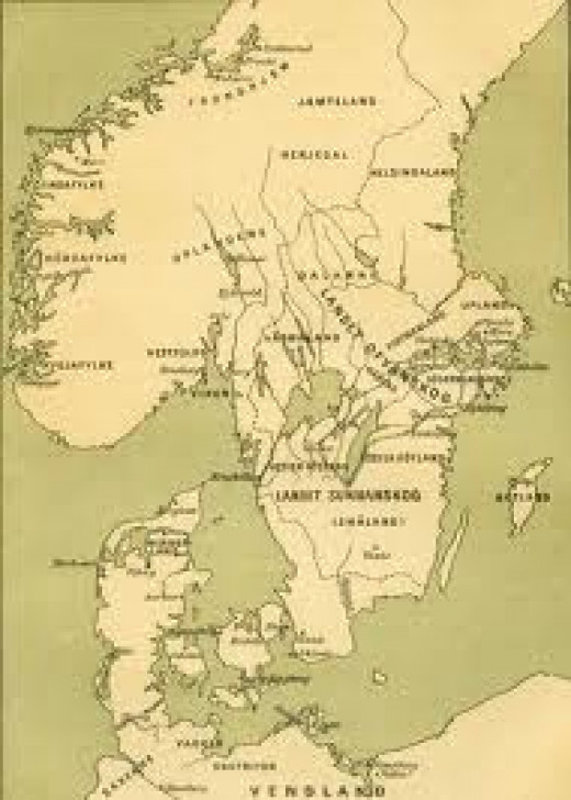 Southern Scandinavia showing Denmark and Gotaland - or Gautland as it was known in mediaeval Scandinavia