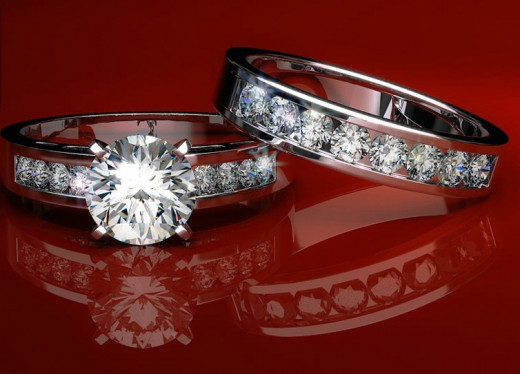 Platinum and diamond wedding ring