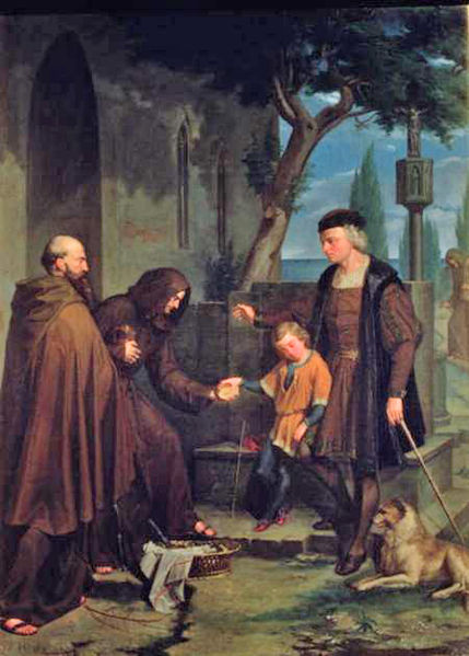 Christopher Columbus at the gates of the monastery of Santa Maria de la Rabida with his son Diego.