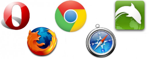The Mobile Browser Olympics: Opera, Firefox, Chrome, Safari and Dolphin.