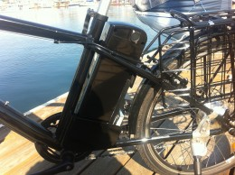 Battery Pack located directly behind the seat post.  Notice the key switch with its open/off/on options.