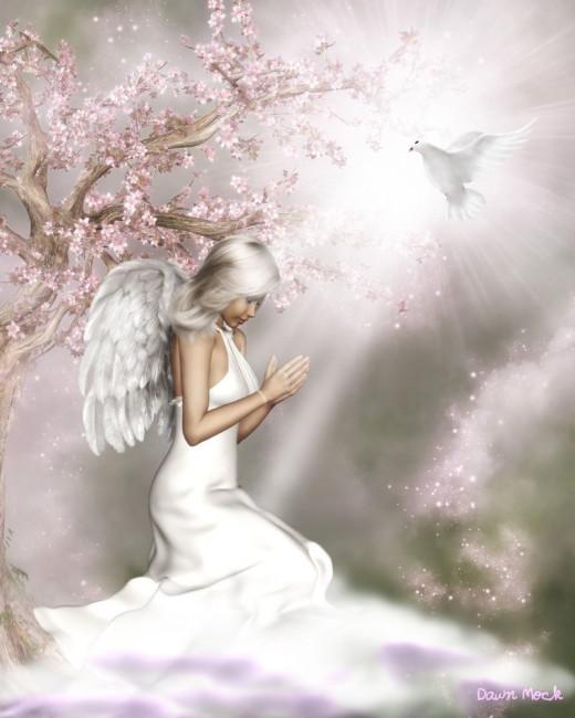An angel in prayer