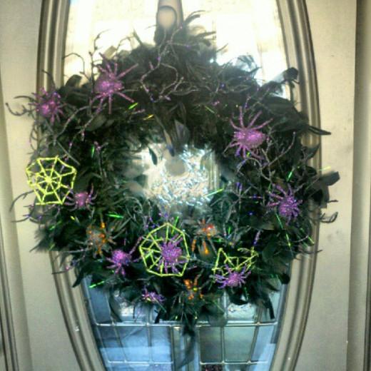 Halloween wreath on front door