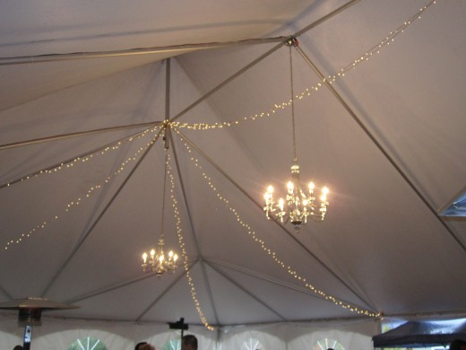 Chandeliers In A Tent? Nice! Only at Chamberlain Farm Pavilion!