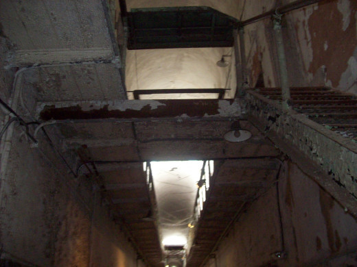 Stairwell leading to the upper level of Eastern State Penitentiary.