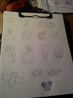 Make a sheet of designs you feel comfortable making so the children can pick and choose easily.