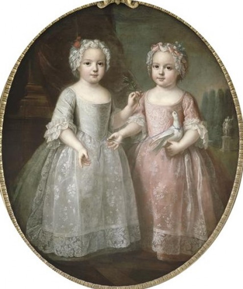 Louise-Elisabeth de France and her twin sister Henriette de France, circa 1737. Painting attributed to Pierre Gaubert (1662-1744)  currently located in the palace of Versailles, France