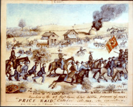 Samuel Reader of the Kansas State Militia was captured near Westport on Sept. 22, 1864. He painted this picture of Union prisoners being hurried south by the fleeing Confederates.