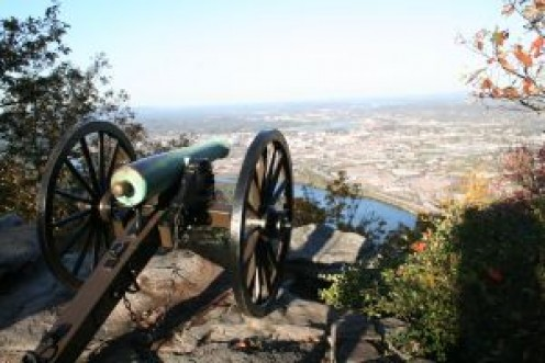 Lookout Mountain overlooks Chattanooga and is a historic visitor's attraction.