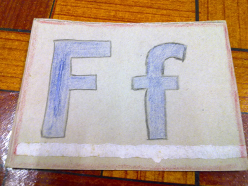 "The alphabet ""F"" on the second flash card that had drew myself. Not artistic but readable"