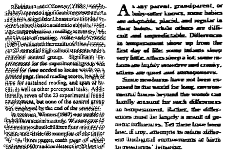 Very close examples of what text can look like to dyslexics.