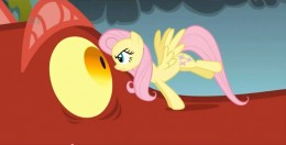 Fluttershy, the most timid character in the show, facing down a dragon - the definition of girly.