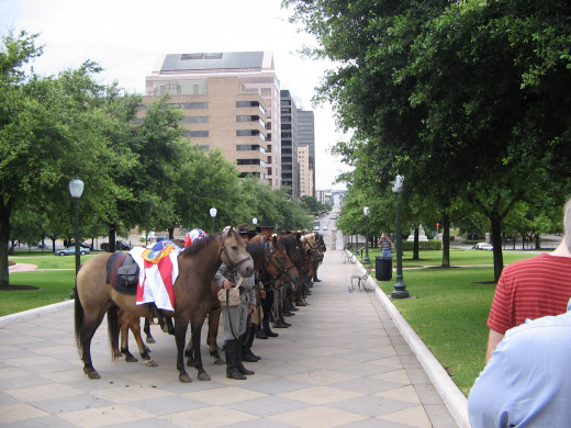 A memorial service at the Texas Capitol in Austin honoring the veterans of the States and Nations that fought for Texas.