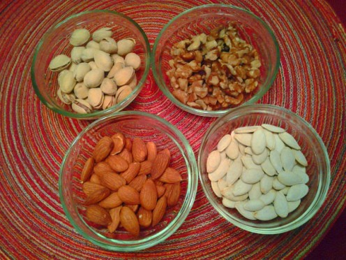 Nuts!  Pistachios, Walnuts, Almonds and Pumpkin Seeds