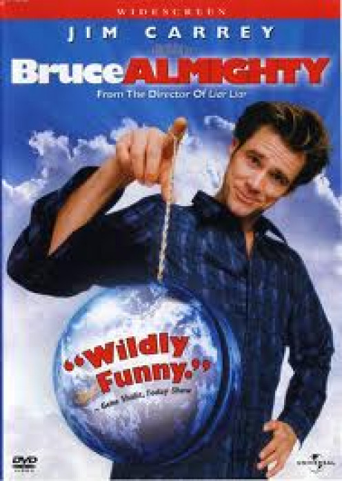 Bruce Almighty stars Jim Carrey and Morgan Freeman.  Carey assumes all of God's duties in this comedy movie.
