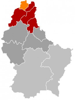 Map location of Troisvierges, Luxembourg