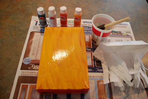 Painting over the spraypainted cereal box