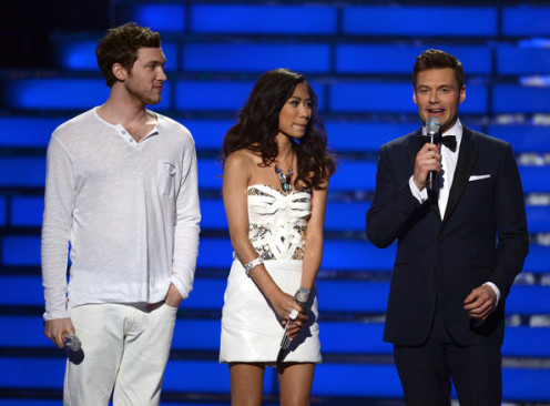 Ryan Seacrest with American Idol 2011 winner Phillip Phillips and runner-up Jessica Sanchez
