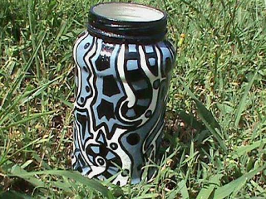 Black Painted Pot Craft