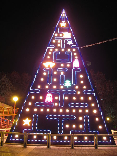 Pac-Man Christmas light decoration in AZCA, a business park in Madrid, Spain.