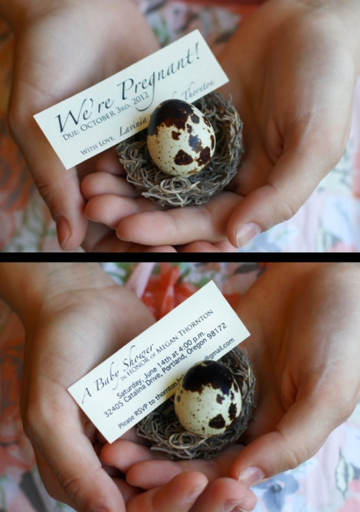 A quail egg pregnancy announcement.  A neat way to share the news that you are expecting!