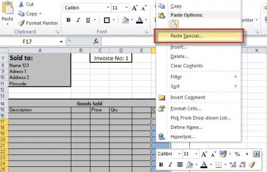 Formulas for Tables