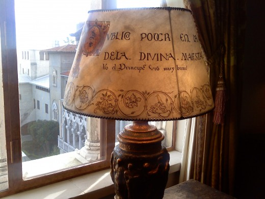 A lamp shade made with a medieval prayer sheet
