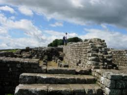 Looking across the steps of a milescastle