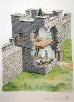 Cutaway detail of wall turret to show the floor levels and accommodation for the guards. Note the narrow doorway onto the wall