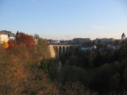 Luxembourg City: view over the Pétrusse Valley towards the Viaduct