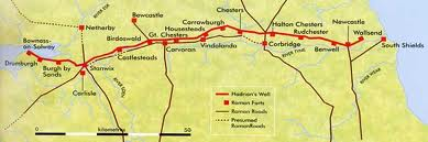 Detail map of Hadrian's Wall between the two coasts, showing also Roman road links (established and estimated). Mileforts marked along the wall as solid box shapes.