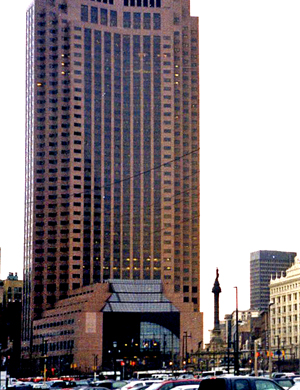 Skyline icon: the former BP America headquarters (now home to Huntington Bank)