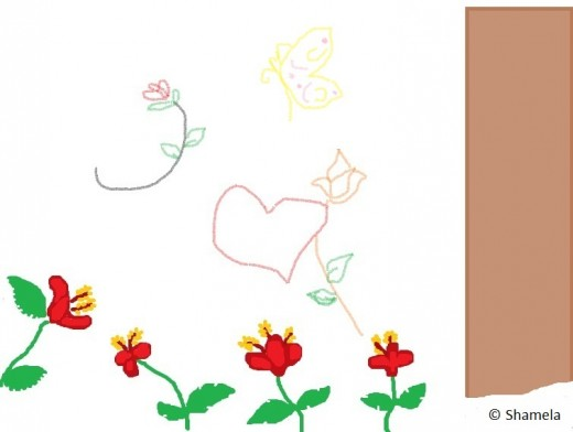 My drawing of shoe flowers and designs.