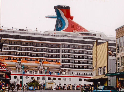 The Cruise Ship Dwarfs the Port