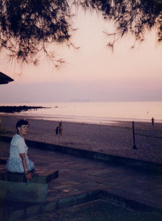 Damai Beach at Sunset