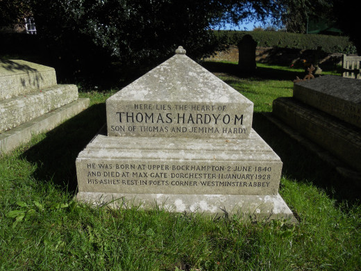 Hardy's grave in St Michael's churchyard, Stinsford. As the inscription says, only his heart was buried here, alongside his family. His ashes are interred in Poet's Corner, at Westminster Abbey in London.