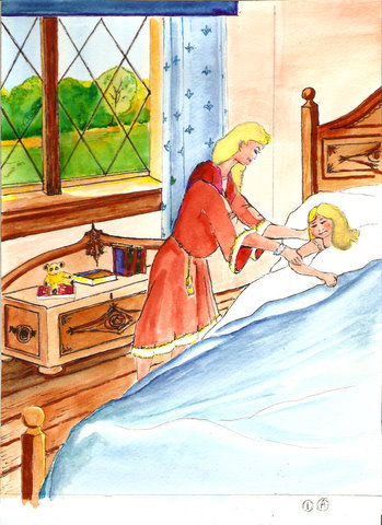 Another  picture of a girl  in cartoon likeness, getting out of bed with a little help from a loving mom.