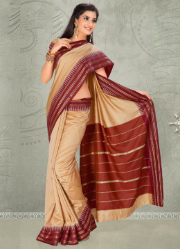 Elegant Cream Silk Saree. Used with Permission from Cbazaar.