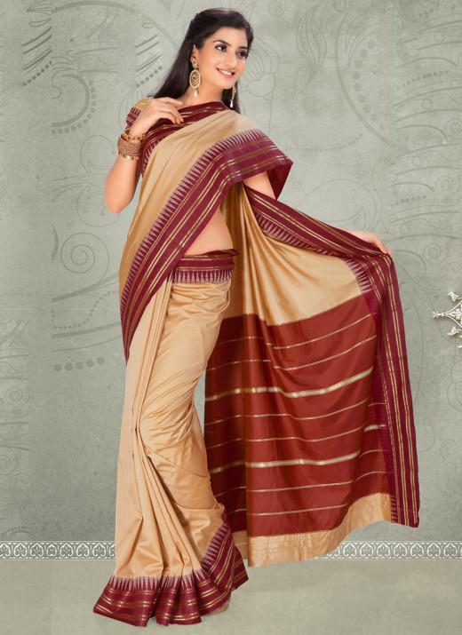 Elegant Cream Silk Saree. Used with Permission from Cbazaar.