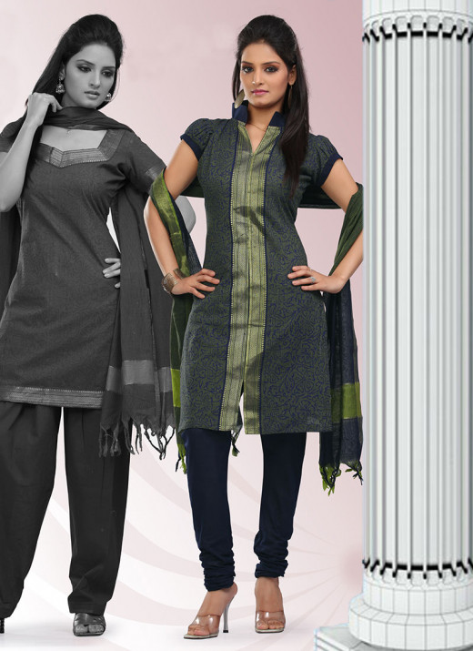 Green Cotton Churidar Suit. Used with Permission from Cbazaar.