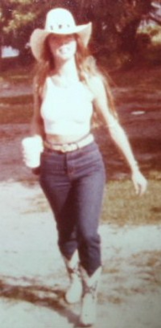 That was then.  Notice the waist length hair behind the waist I was able to show!